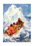 John Franklin Witnessing the Creation of an Iceberg Giclee Print by Archibald Webb
