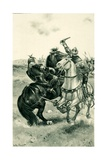 Bruce Slays De Boune in Front of the Armies Giclee Print by Walter Stanley Paget