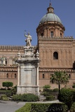 Statue of Saint Rosalia in Front of Palermo Cathedral, Sicily Photographic Print