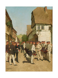 Roll Call at Maneuvers, before 1894 Giclee Print by Carl Rochling
