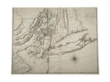 Map of Lower New York State and Surrounding Areas, C.1775 Giclee Print by John Montresor
