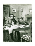 Poe at Work under Catalina's Eye Giclee Print by Charles Mills Sheldon