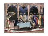 India. British Colonial Era. Banquet at the Palace of Rais in Mynere. Engraving by Hildibrand.… Giclee Print