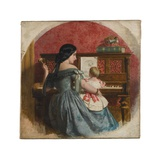 Domestic Interior with a Mother and Child Seated at a Piano, C.1860 Giclee Print by Charles West Cope