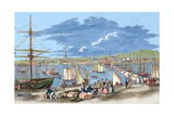 "Russia. Riga. 19th Century. Harbour. Engraving of ""L'Univers Illustre"", 1861. Colored Giclee Print"
