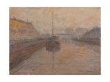 Canal with Barge Giclee Print by Henri Duhem