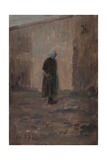 Woman Seen from Behind Standing before a Wall Giclee Print by Henri Duhem