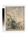 Street Scene with Church Tower, C.1830 Giclee Print by Thomas Creswick
