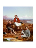 Florence, Arthur and Charles Moore on a Sea-Shore, 1868 Giclee Print by William Crosby