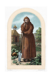 St. Fiacre. Irish Hermit Monk Born in 7th Century. Patron of Gardeners. Nineteenth Century… Giclee Print