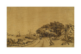 View on the Amstel: the Road on the Amsteldijk Leading to Trompenburg, C.1649-50 Giclee Print by  Rembrandt van Rjin