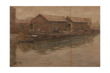 Barges Alongside the Quay Giclee Print by Henri Duhem