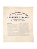 The Inaugural Address of President Abraham Lincoln Delivered at the National Capitol, 4th March… Giclee Print