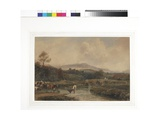 Landscape, Cattle in Stream with Bridge, C.1840 Giclee Print by Peter De Wint