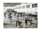Spanish Industry, 1958. Moto Guzzi Hispania. Emtisa Factory. Assembly Section of Motorcycles.… Impression giclée