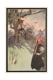 A Boy Was Sitting under a Tree, Playing on a Rough Wooden Pipe Giclee Print by Charles Robinson