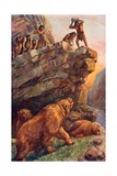Prehistoric Men Attacking the Great Cave Bears Giclee Print by Charles Mills Sheldon