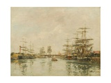 Port D'Honfleur Giclee Print by Eugene Louis Boudin