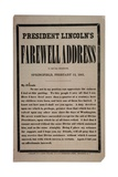 President Lincoln's Farewell Address to His Old Neighbours, Springfield, 12th February 1861 Giclee Print