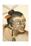 Portrait of a Maori Chief with Full Facial Moko, 1769 Giclee Print by Sydney Parkinson