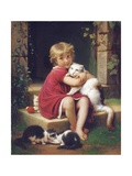 Her Favourite Pet, 1867 Giclee Print by Leon Bazile Perrault