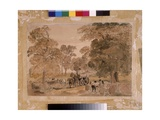 Felling Trees in a Park, a Sketch, C.1820 Giclee Print by Peter De Wint
