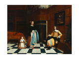 Dutch Interior with Family, 1661 Giclee Print by Godaert Kamper