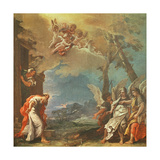 Abraham Welcoming the Angels, C.1695 Giclée-tryk af Sebastiano Ricci