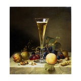 Still Life with a Glass of Champagne, 1855 Giclee Print by Johann Wilhelm Preyer