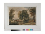 Landscape, Cattle in Stream, with Sluice Gate, C.1835 Giclee Print by Peter De Wint