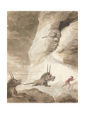 Monsters Chasing a Man Giclee Print by George Dance