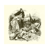 Queen Edith Finding the Body of Harold after the Battle of Hastings Giclee Print by Gordon Frederick Browne