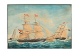 The Hendrika Bartina and the Johanna Hendrika Sailing Near the Shore, 1852 Giclee Print by Jacob Spin