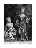 The Lord Churchill's Two Daughters, Mezzotint by John Smith, C.1690 Giclee Print by Sir Godfrey Kneller