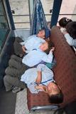 Ladakhi Schoolboys Asleep on the School Bus, Shey, Ladakh, India Photographic Print