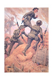 British Soldiers 'Going over the Top' Climbing Out of a Trench and into Battle on the Western Front Giclee Print by Ernest Ibbetson