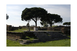 Ostia Antica. Temple of Hercules. 2nd and 1st Centuries BC. Altar and Statue of C. Cartilius… Giclee Print