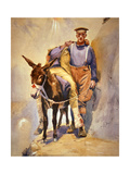 John Simpson Kirkpatrick of the 3rd Australian Field Ambulance Who with His Donkey Rescued… Giclée-tryk af Horace Moore-Jones