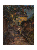 Young Woman and Child in an Alley Giclee Print by Henri Duhem