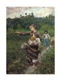 The Shepherdess Gicléedruk van Francesco Paolo Michetti