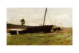 Stranded Boats, Porlock Weir, 1879 Giclee Print by Frederick George Cotman
