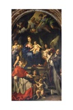 The Virgin Enthroned Between Saints Carlo Borromeo and Ignatius of Loyola, C.1685 Giclée-tryk af Carlo Maratti