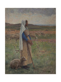 Shepherdess with Her Sheep Giclee Print by Henri Duhem