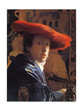 Girl with a Red Hat, C.1665 Reproduction procédé giclée par Jan Vermeer