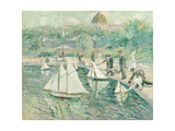 Model Sailboat Pond, Central Park, New York Giclee Print by Ernest Lawson