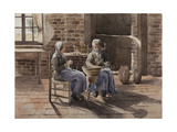 Two Young Women Peeling Potatoes Giclee Print by Henri Duhem