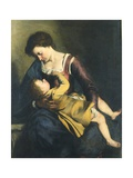 Madonna med barnet Giclée-tryk af Orazio Gentileschi
