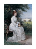 Portrait of Princess Emma Von Waldeck-Pyrmont Seated on a Bench in the Park of the Palace Het Loo Giclee Print by Piet Schipperus