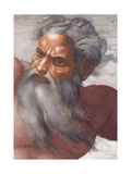 Sistine Chapel Ceiling: Creation of the Sun and Moon, 1508-12, Detail of the Face of God Giclee Print by  Michelangelo Buonarroti