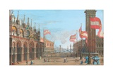 View of St. Mark's Square, Venice, with the Palazzo Ducale and Campanile, 1828 Giclee Print by Giuseppe Borsato